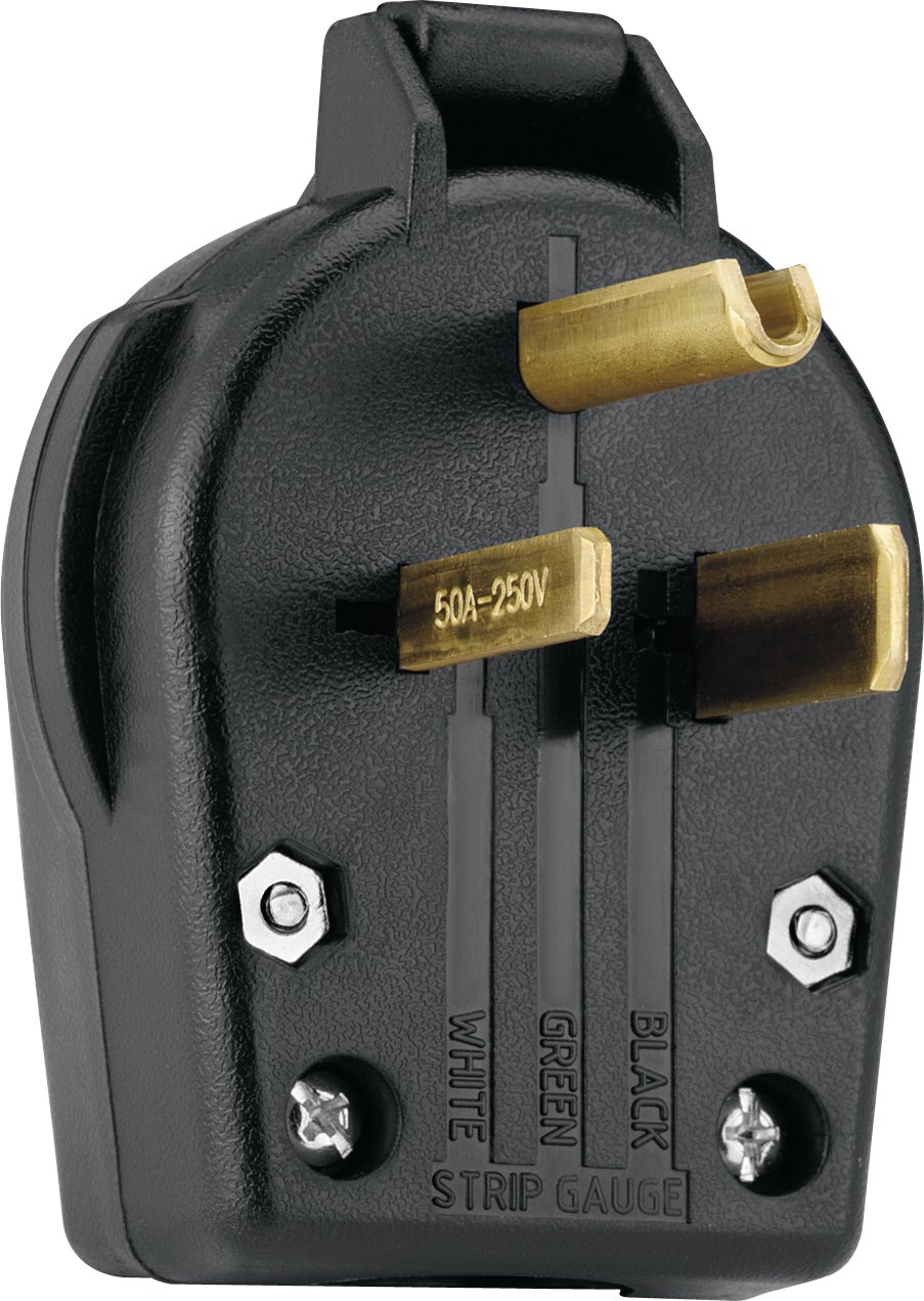Buy Cooper Wiring Devices S42-SP-L Commercial Grade Angle Vinyl Power Plug with 30/50-Amp, 250-Volt, 6-30/6-50-NEMA Rating, Black