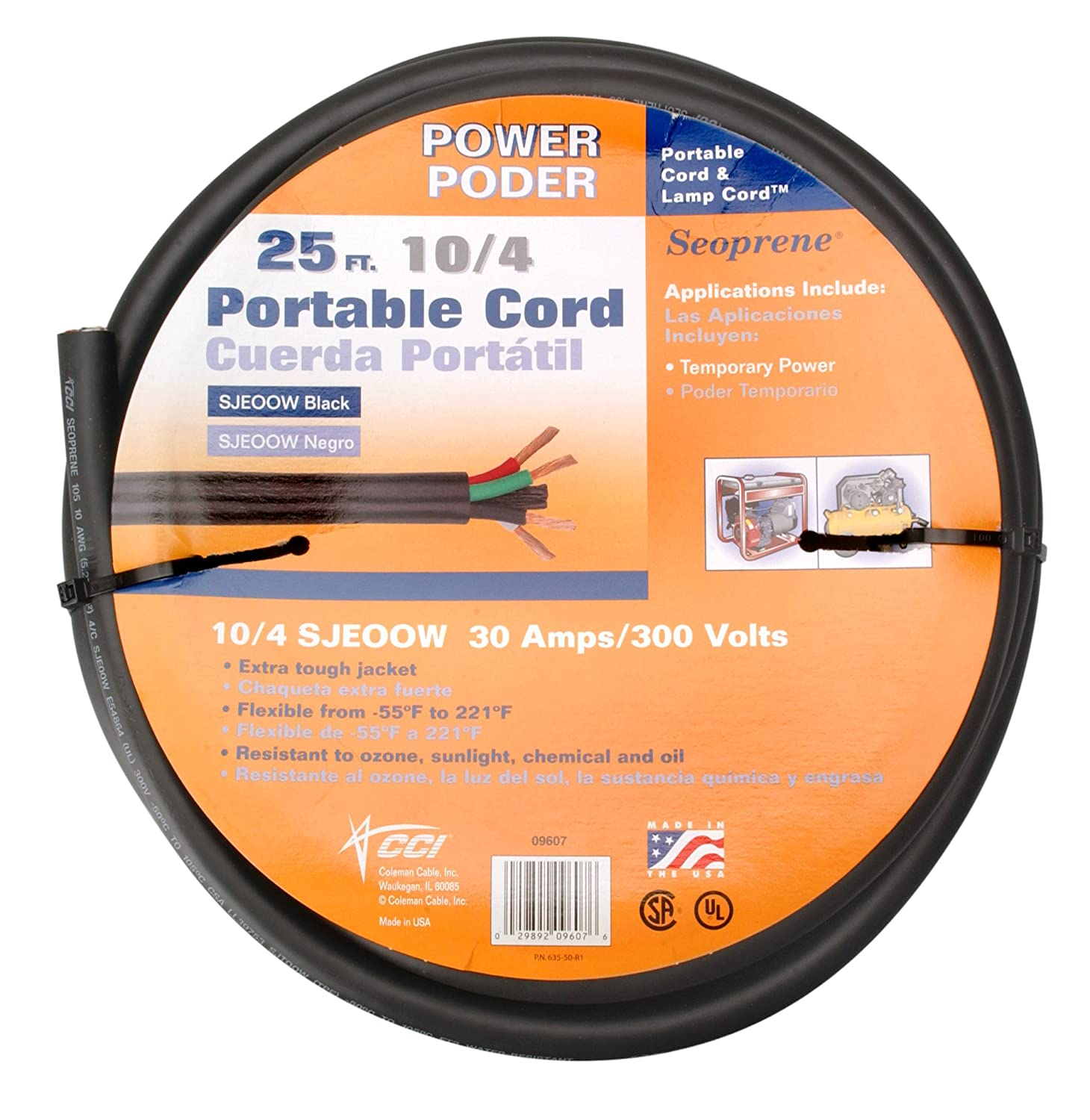 Buy Coleman Cable 09607 10/4 Bulk Wire, 25-Amp 10-Gauge 25-Feet